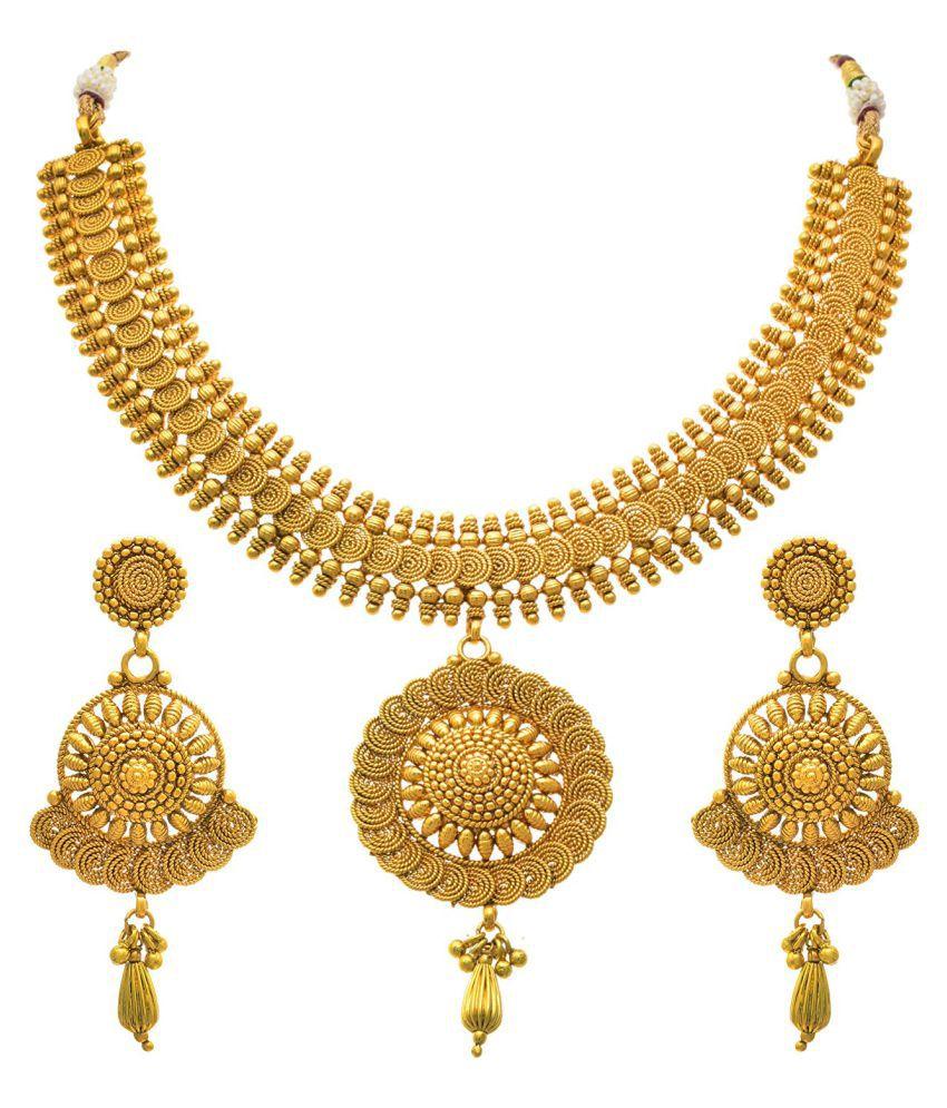 Jfl Traditional Ethnic One Gram Gold Plated Spiral Designer Necklace Set