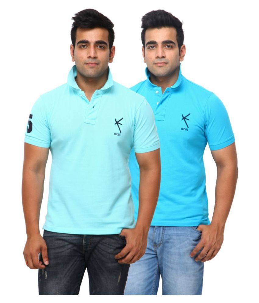 Yross Blue Cotton Polo T-shirt Pack of 2