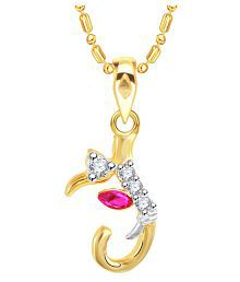 "VK Jewels Alphabet with Ganesh Initial Letter ""J"" Gold and Rhodium Plated Alloy Pendant with Chain for Men & Women made with Cubic Zirconia P2245G [VKP2245G] for sale  Delivered anywhere in India"