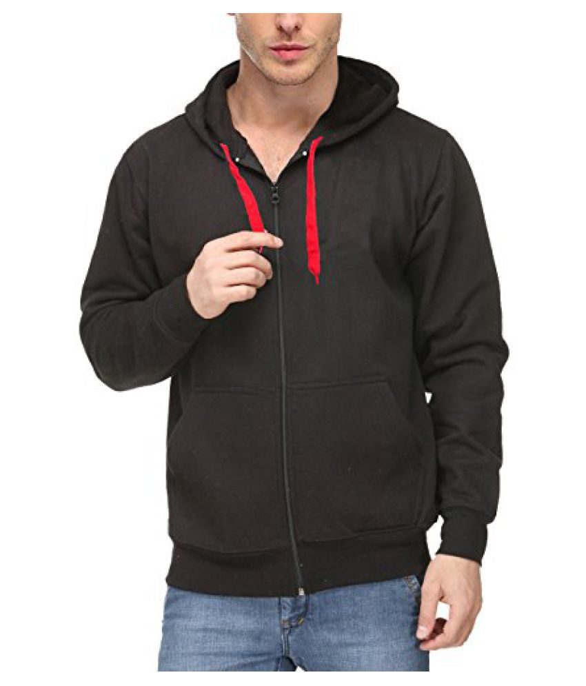 Scott International Mens Premium Cotton Blend Pullover Hoodie Sweatshirt With Zip - Black