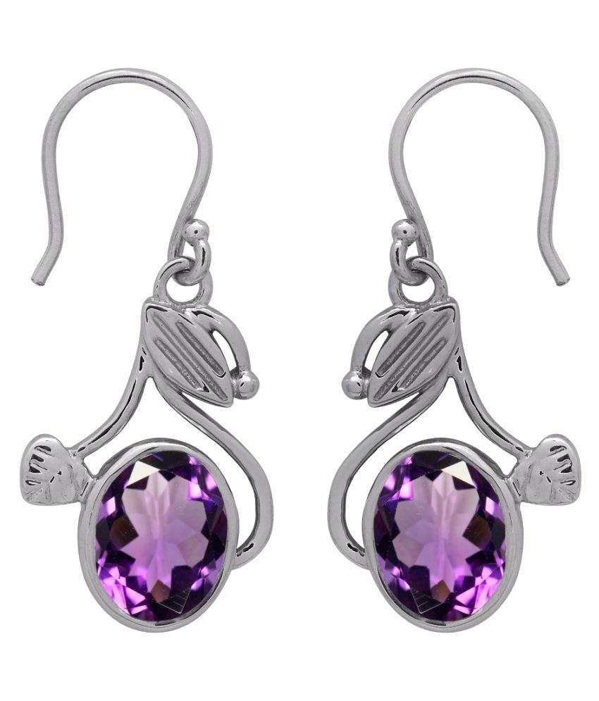Shine Jewel 92.5 Silver Amethyst Drop Earrings