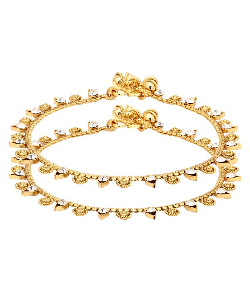 Voylla Golden Alloy Anklets with Yellow Gold Plating