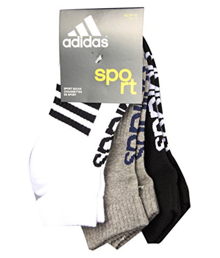 Adidas Flat Knit Low Cut AD435 (White/Grey Mel/Black) Pack of 3