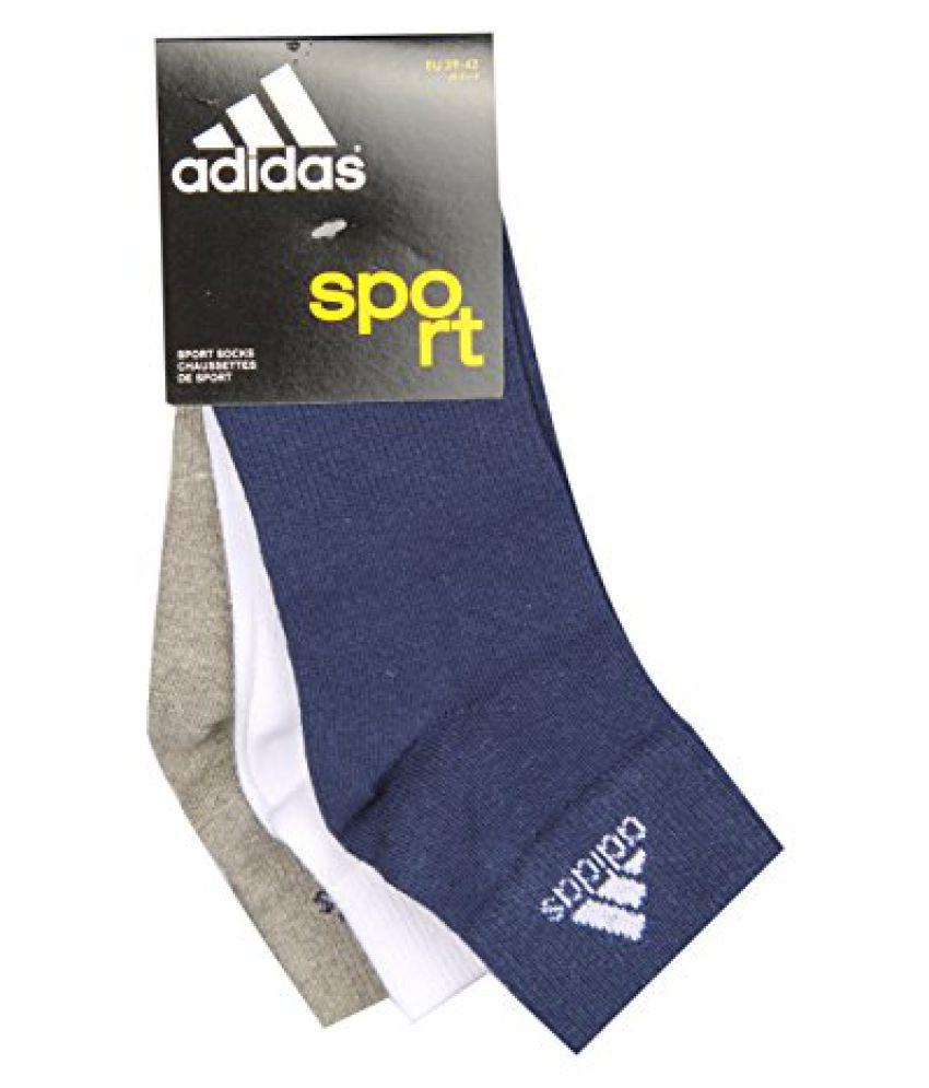 Adidas Flat Knit Quarter Socks AD439(Nt Blue/Wht/Gmel) Pack of 3