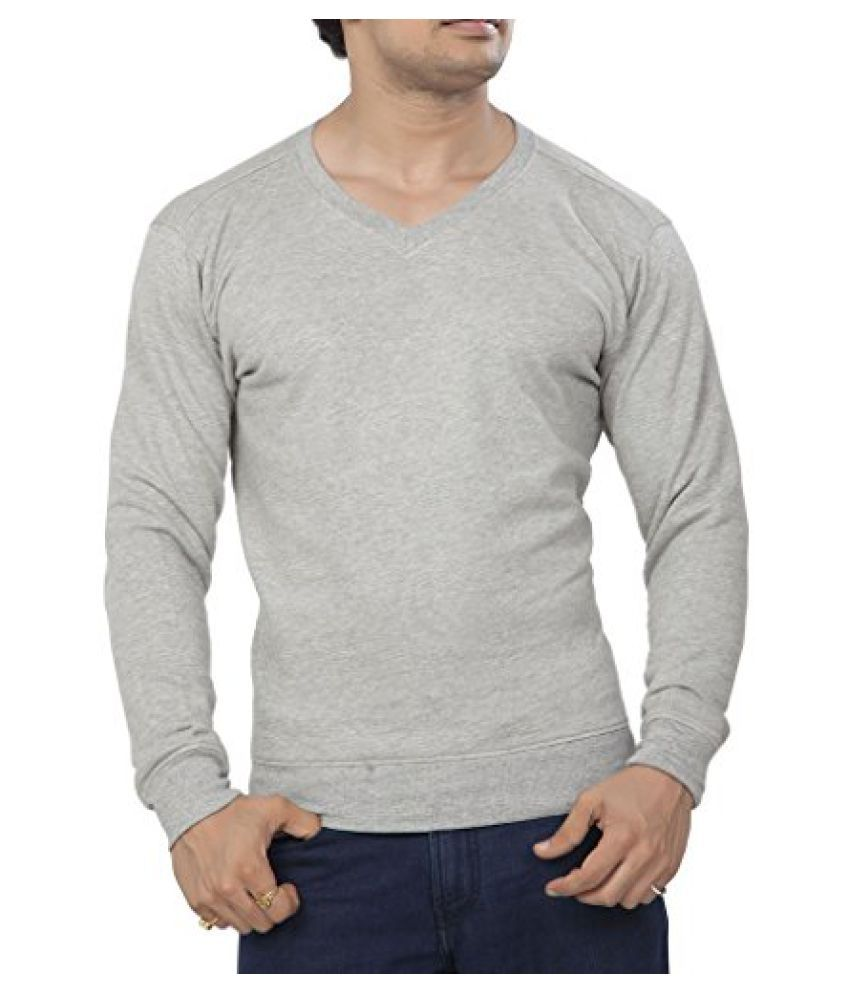 Clifton Men's Polar V-Neck Sweat Shirt - Grey Melange - X-Large
