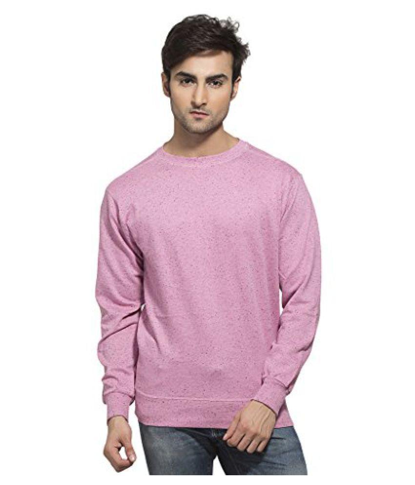 Clifton Mens Neppy Melange Sweat Shirt - R-Neck - Cool Pink