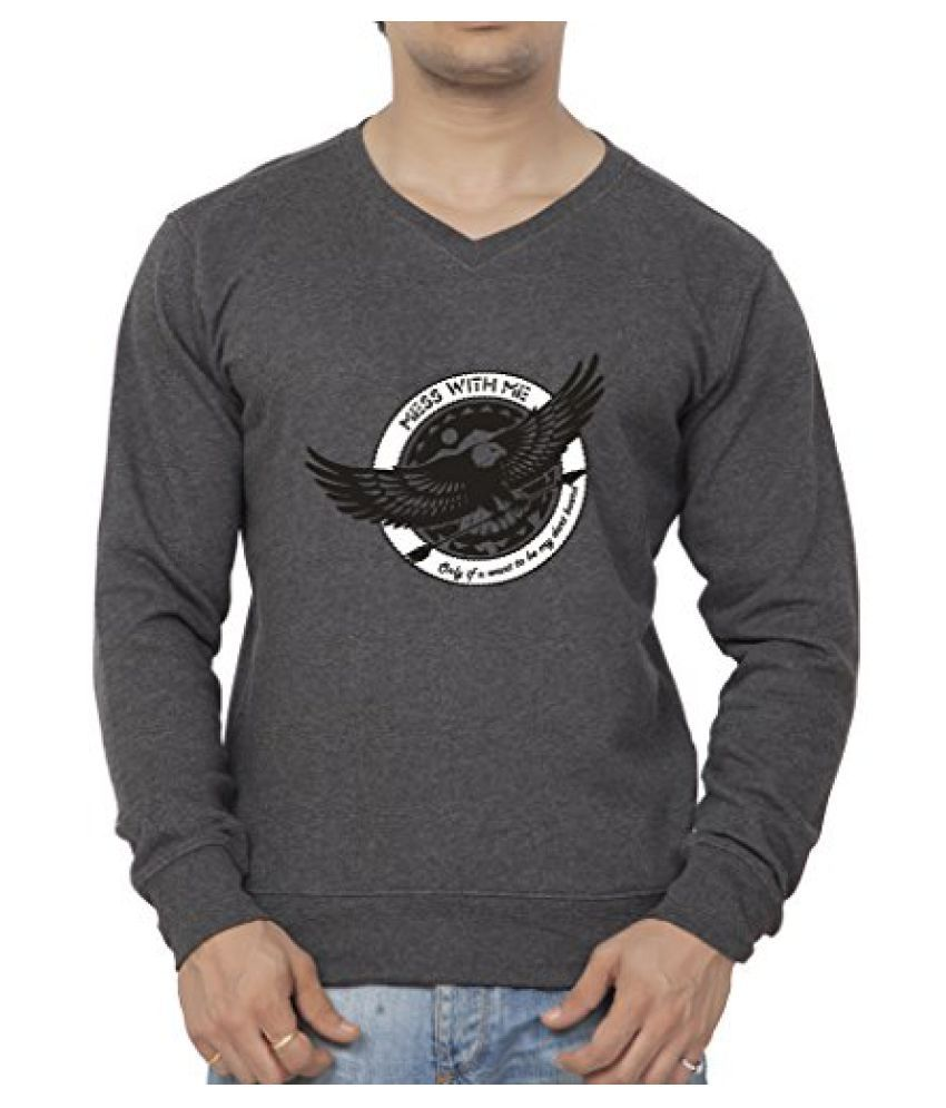 Clifton Mens Printed Cotton Sweat Shirt V-Neck-Charcoal Melange-Mess With Me
