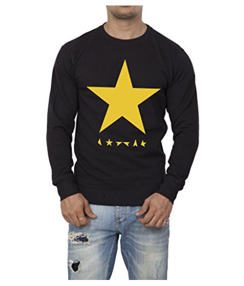Clifton Mens Printed Cotton Sweat Shirt R-Neck-Black-Yellow Star