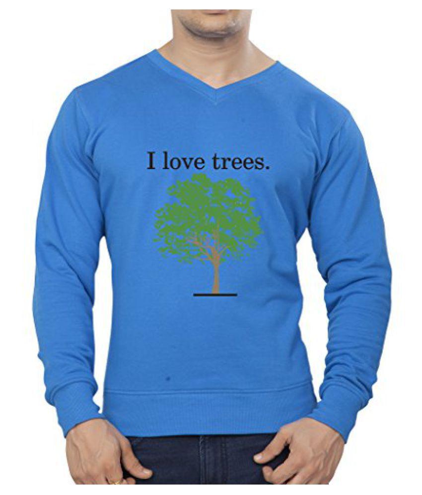 Clifton Mens Printed Cotton Sweat Shirt V-Neck-Royal Blue -I Love Tree