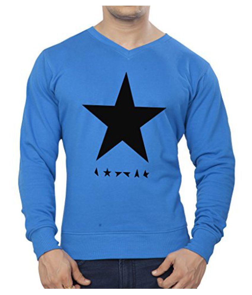 Clifton Mens Printed Cotton Sweat Shirt V-Neck-Royal Blue-Black