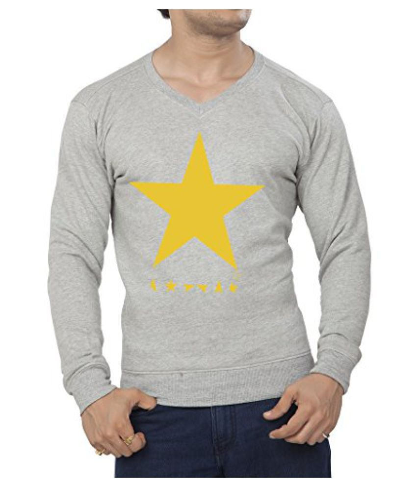 Clifton Mens Printed Cotton Sweat Shirt V-Neck-GreyMelange-White Star