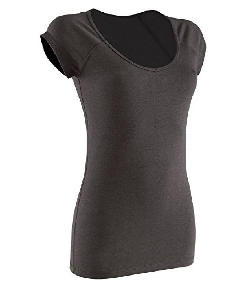 DOMYOS ACTIVE WOMENS SHORT-SLEEVED SLIM-FIT FITNESS T-SHIRT - BLACK