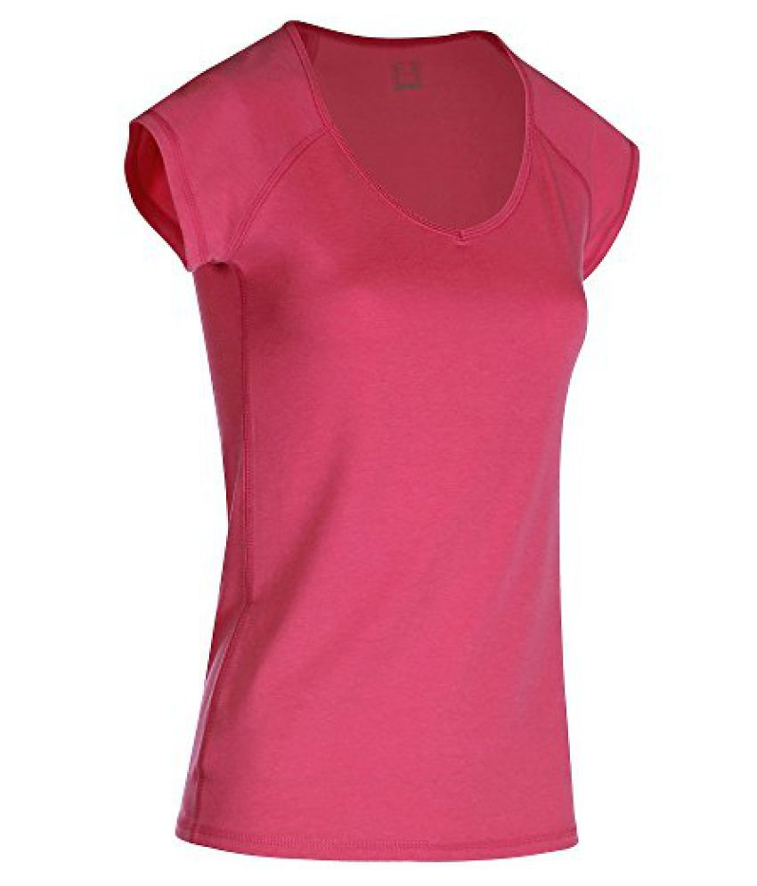 DOMYOS ACTIVE WOMENS SHORT-SLEEVED SLIM-FIT FITNESS T-SHIRT - BRIGHT PINK