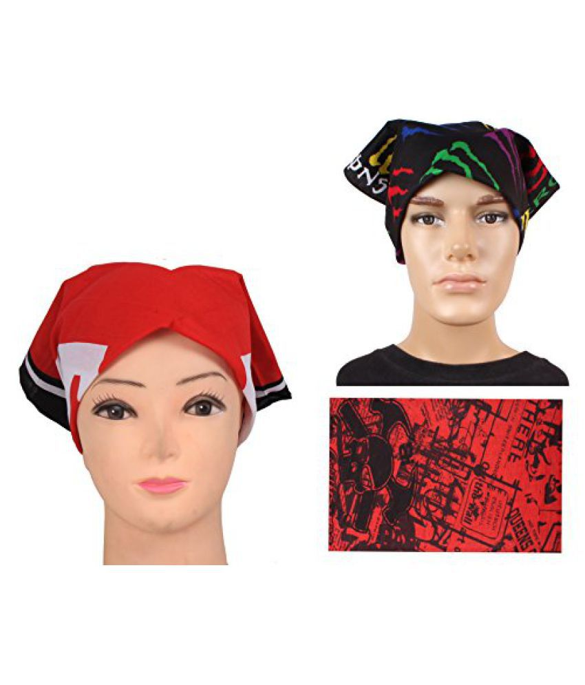 Fancy Red Bandana Combo Two Headwraps