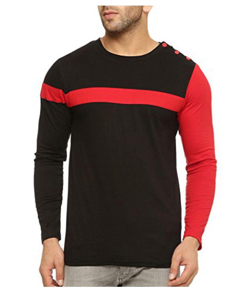 Gritstones Round Neck Full Sleeve T Shirt GSFSTSHT1299BLKRD