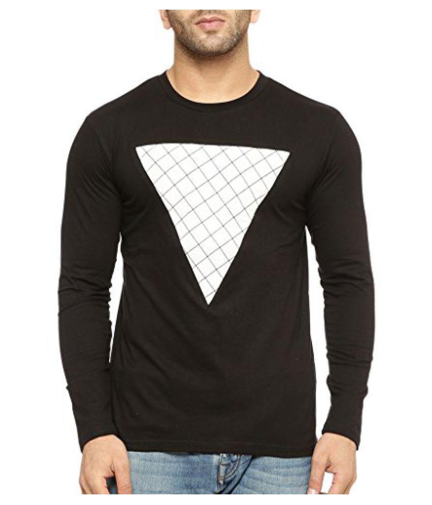 Gritstones Round Neck Full Sleeve T Shirt GSFSTSHT1328BLKWHT