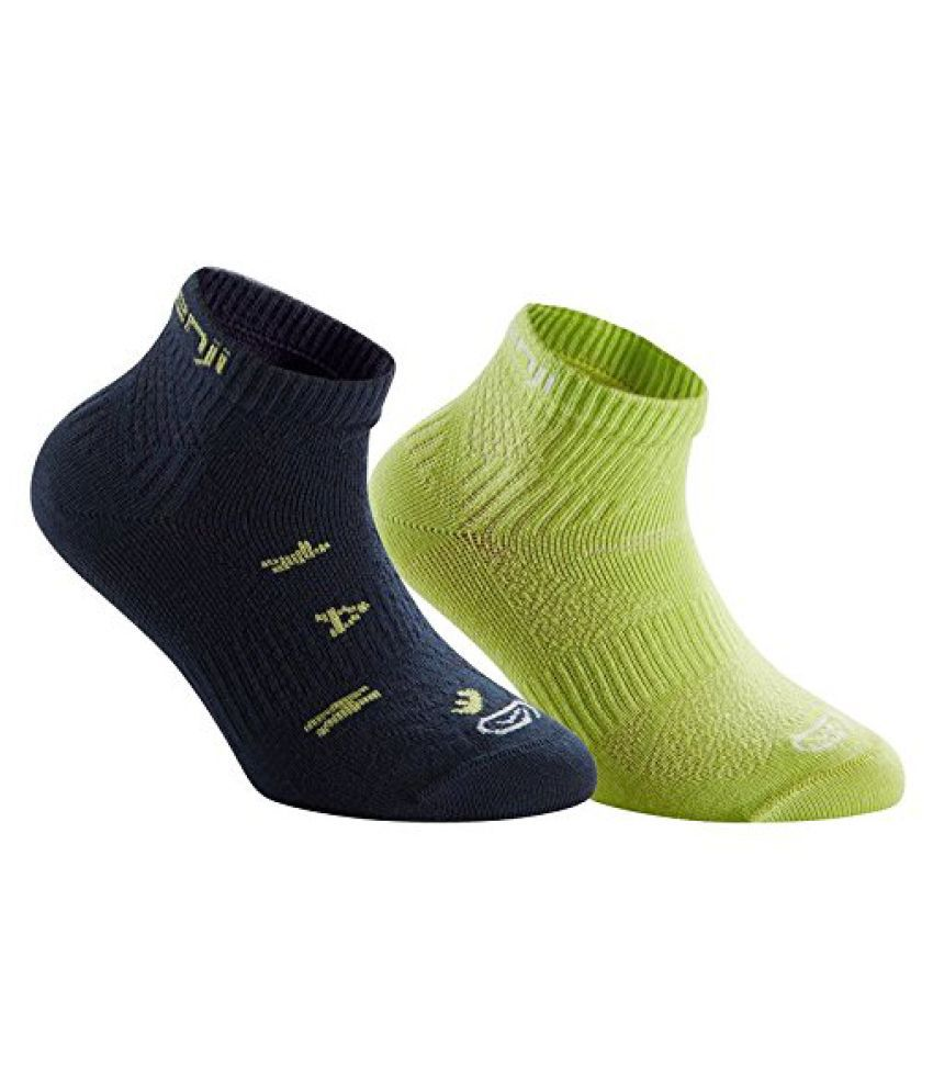 KALENJI CHILDRENS RUNNING SOCKS PACK OF 2 NAVY/ YELLOW