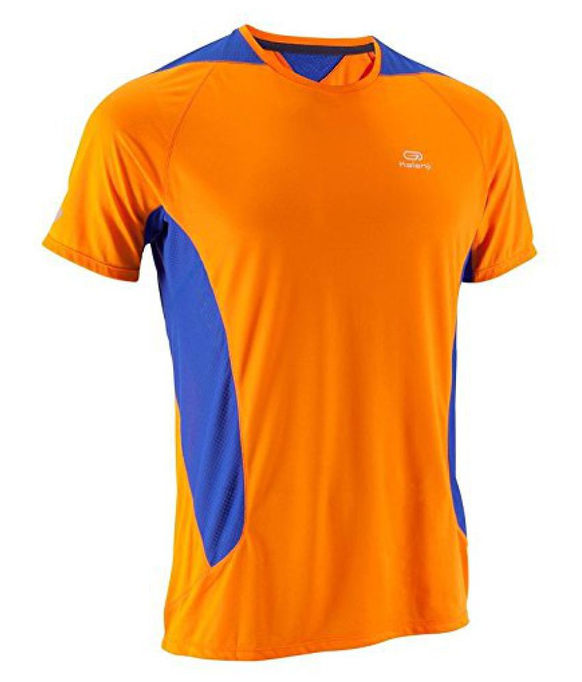 KALENJI ELIO MEN'S RUNNING T-SHIRT - ORANGE/BLUE