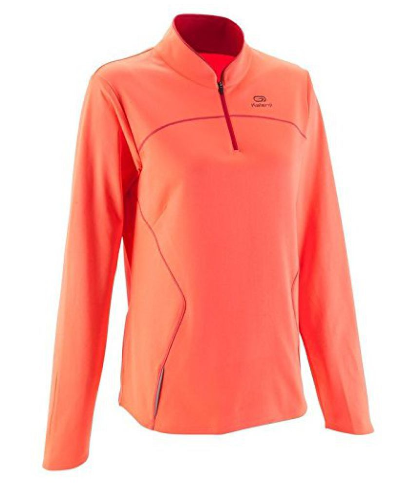 KALENJI KALENJI EKIDEN WOMEN'S WARM LONG SLEEVED RUNNING JERSEY - ORANGE/GREY
