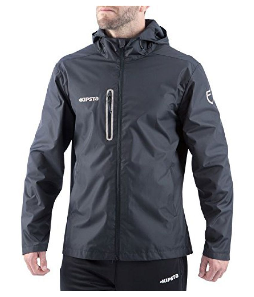 KIPSTA T500 RAIN JACKET - BLACK GREY