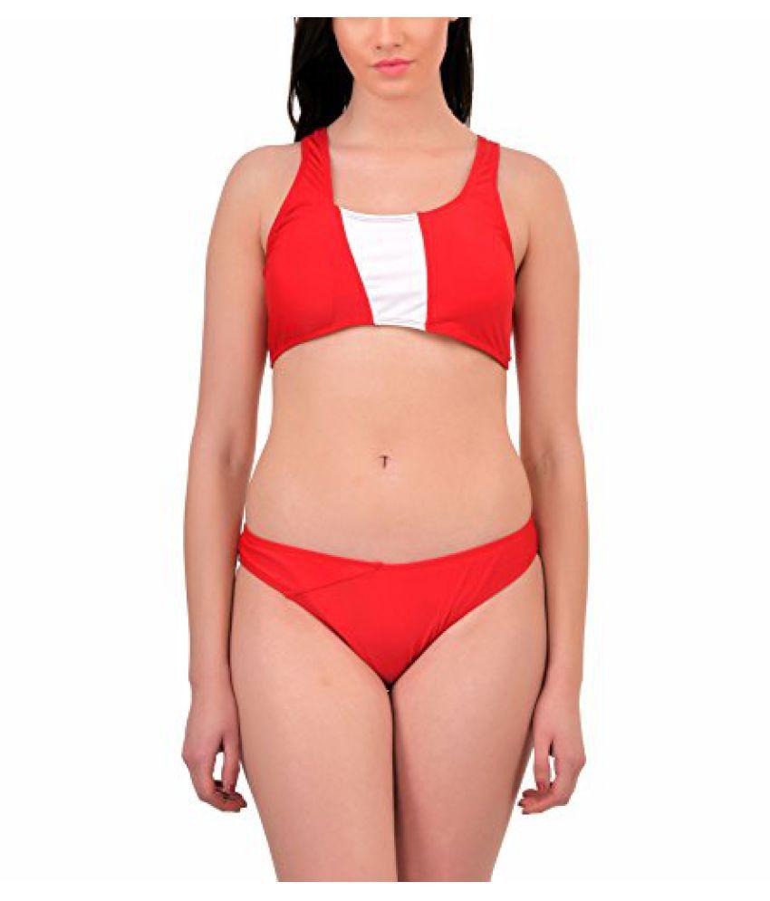 N-Gal Women's Red One-Shouldered Bandeau Bikini Swimwear, NG40906-Red