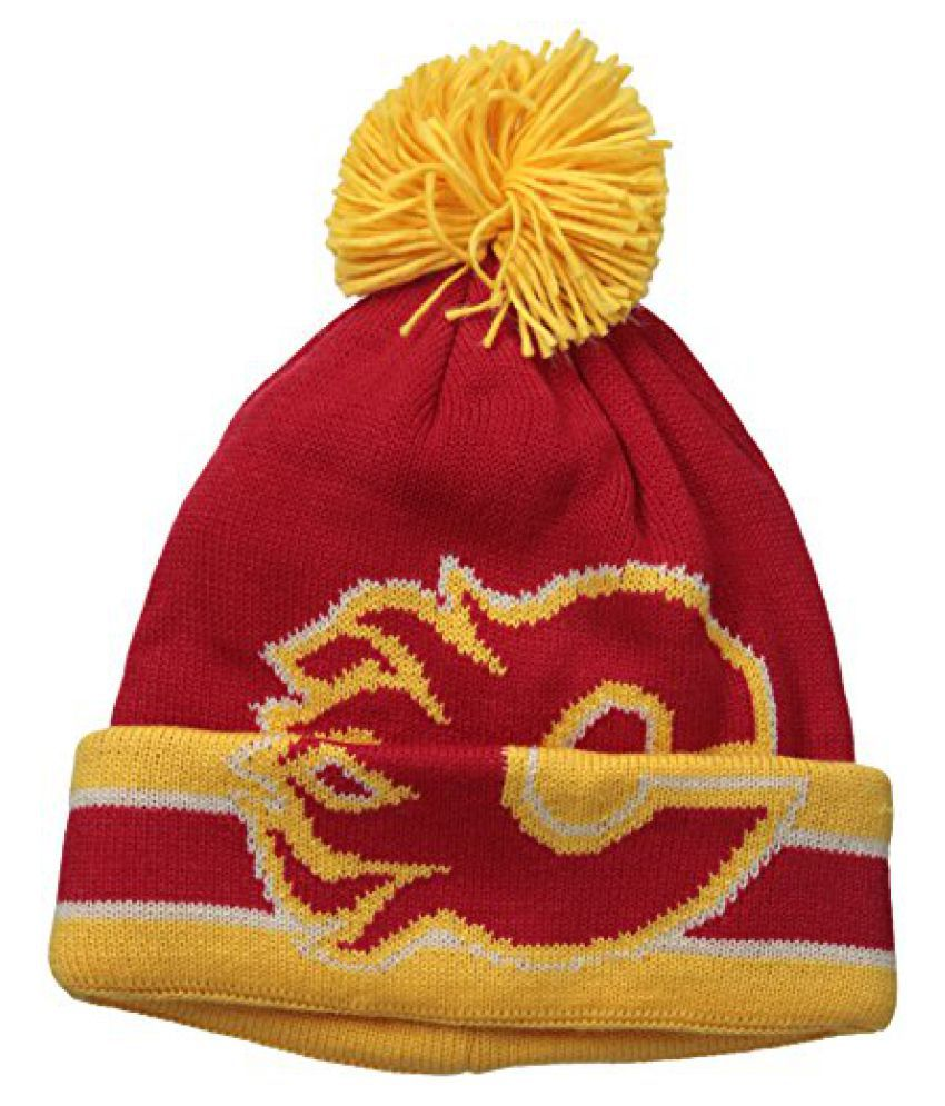 NHL Calgary Flames Men's CCM Cuffed Pom Knit Cap, One Size, Red