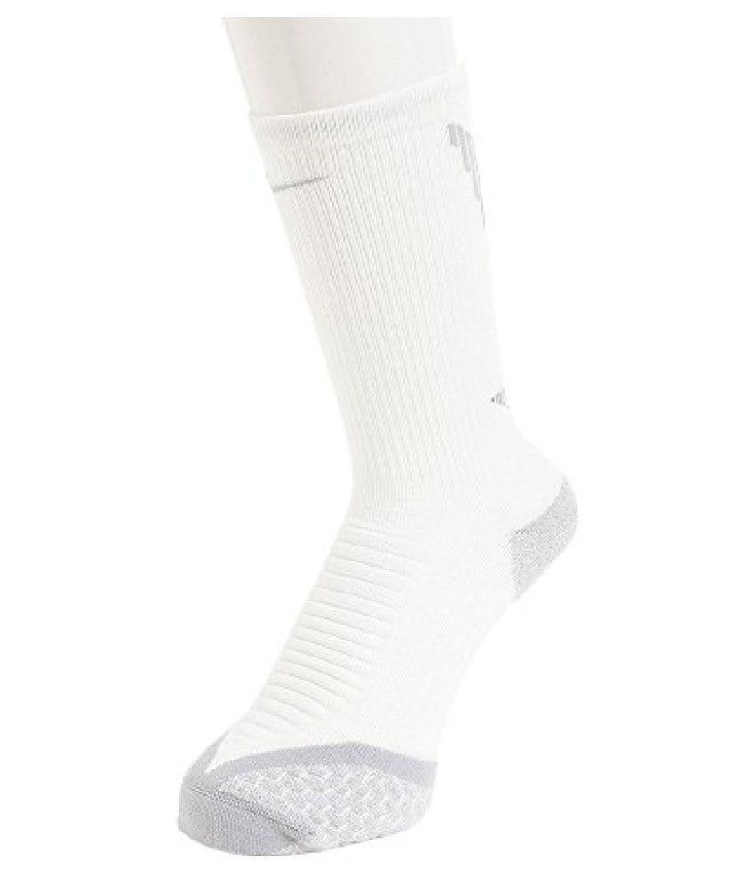 Nike Elite Cushionied Crew Running Athletic Socks, White/Cool Grey, Size 8-9.5