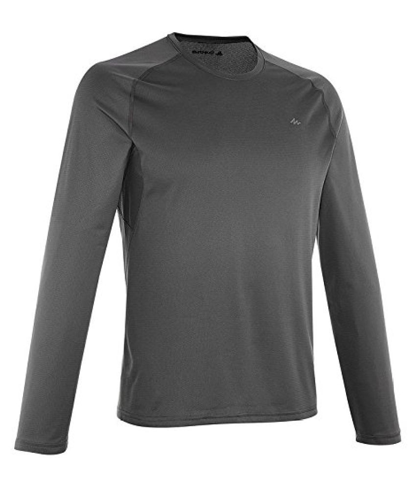 QUECHUA TECHFRESH 100 MEN'S TECHNICAL T-SHIRT - BLACK, LONG SLEEVE