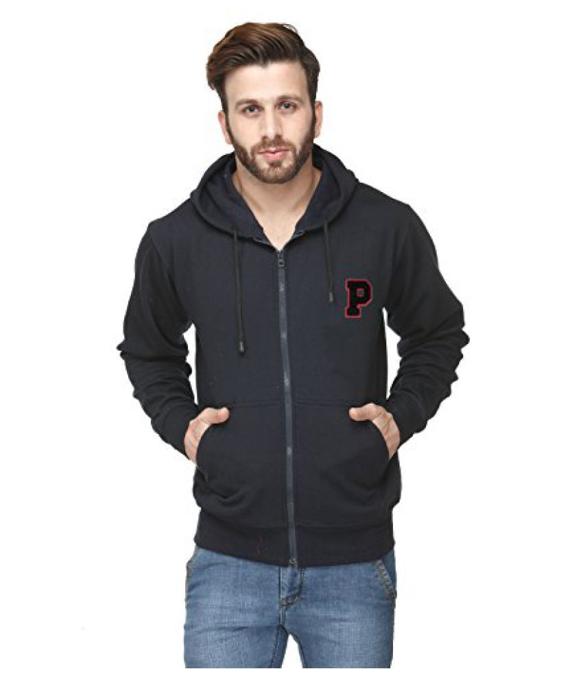 Scott International Cotton Blend Mens Sweatshirt With Zip Hood Navy Blue