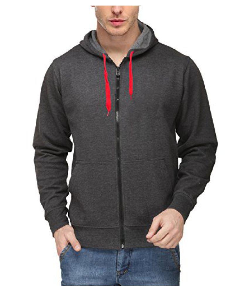 Scott International Mens Premium Cotton Blend Pullover Hoodie Sweatshirt With Zip - Charcoal - Sc-Sslz1-M