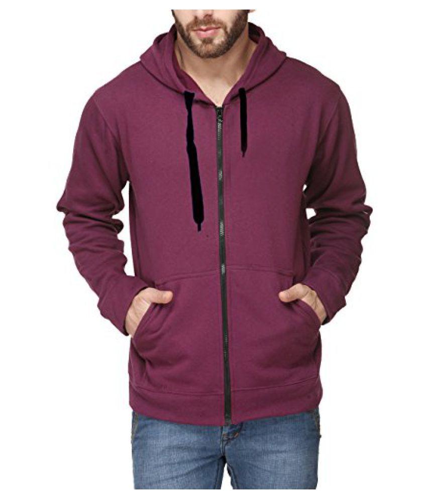 Scott Men's Premium Cotton Pullover Hoodie Sweatshirt with Zip - Maroon - sshz12-L