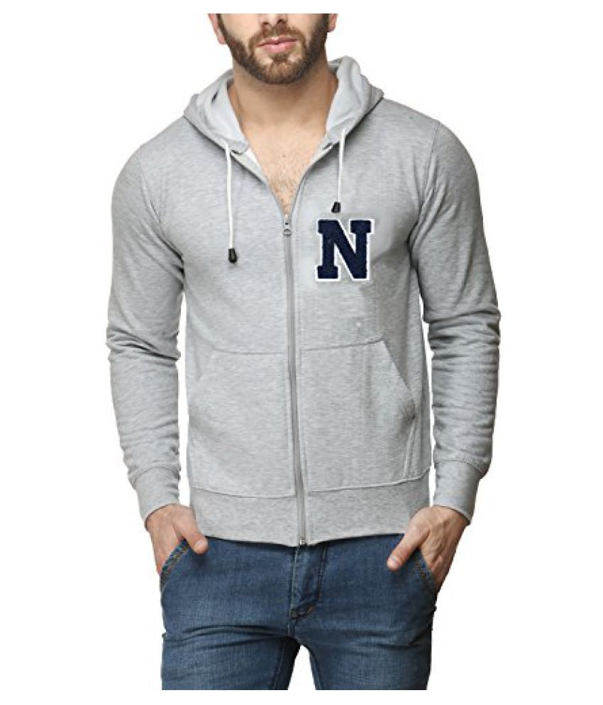 Scott Men's Premium Cotton Flocking Letter Pullover Hoodie Sweatshirt WITH Zip - Grey