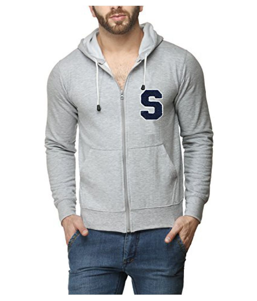 Scott Mens Premium Cotton Blend Pullover Hoodie Sweatshirt with Zip and Flocking Letter - Grey - SESSlZ3_XL