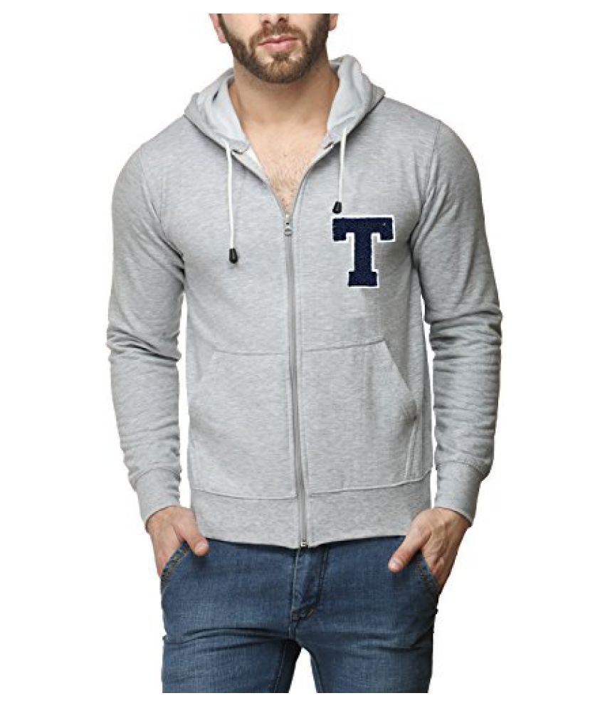 Scott Mens Premium Cotton Flocking Letter Pullover Hoodie Sweatshirt WITH Zip - Grey - TESSHZ10_XL