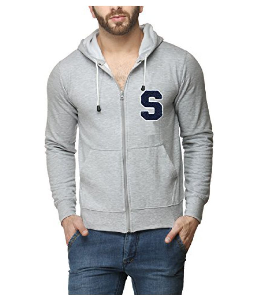 Scott Mens Premium Cotton Flocking Letter Pullover Hoodie Sweatshirt WITH Zip - Grey - SESSHZ10_XXL