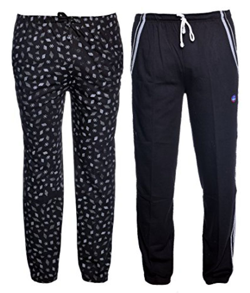 Vimal Multicolor Print And Plain Cotton Trackpants For Men (Pack Of 2)