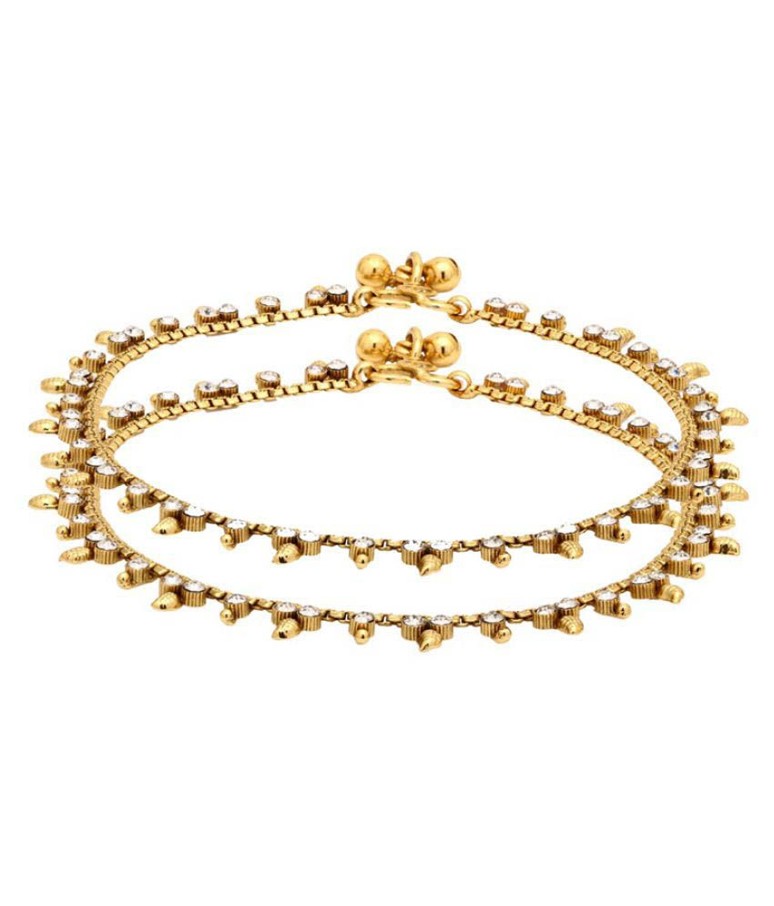 Voylla Beautiful Studded Anklets with Yellow Gold Plating