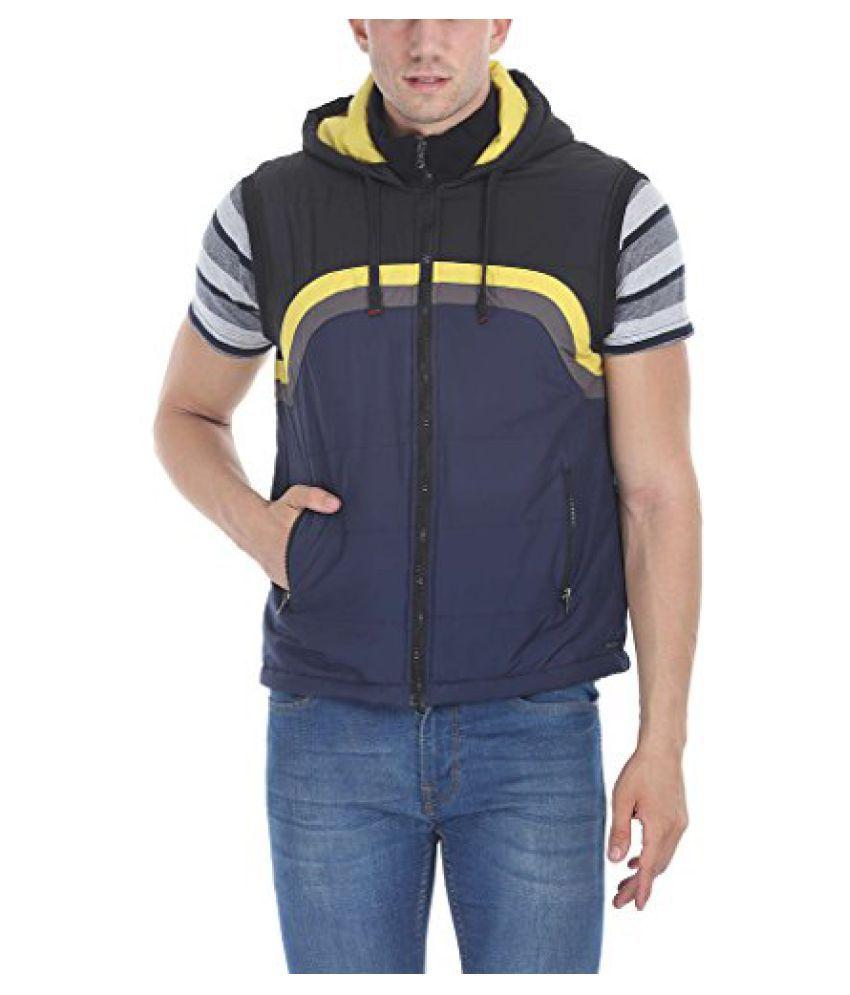 Zobello Men's Polyester Padded Sleevless Hooded Cire Jacket