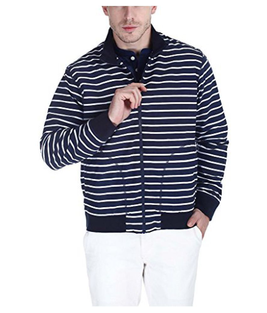 Zobello Mens Nautical Stripe Print Soft Nylon Jacket