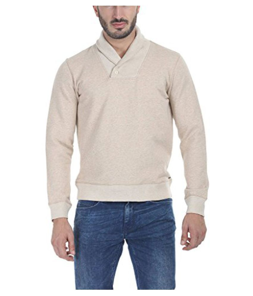 Zobello Mens Shawl Collar One Button Fleece Sweatshirt