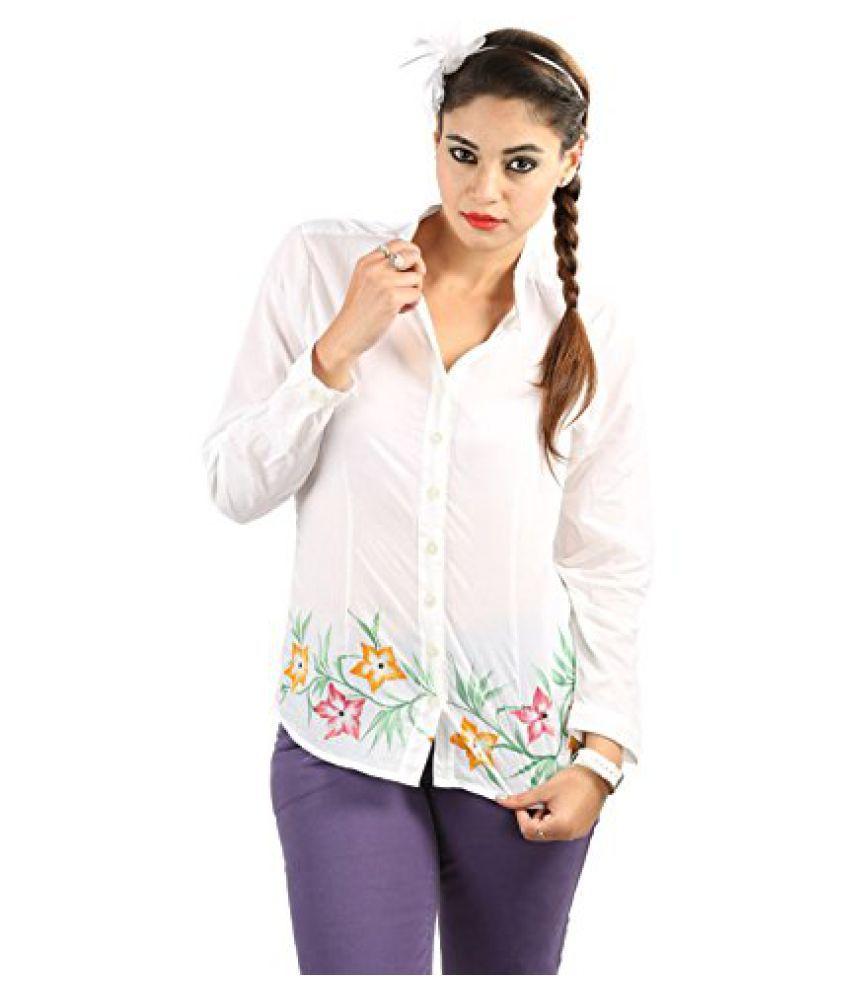 TeeMoods Cool White Band Collar Shirt_TM-7302