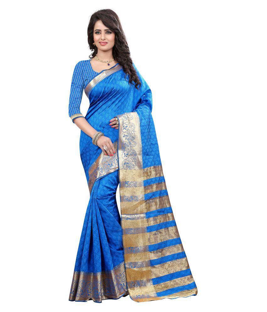 Greenvilla Designs Turquoise Cotton Silk Saree