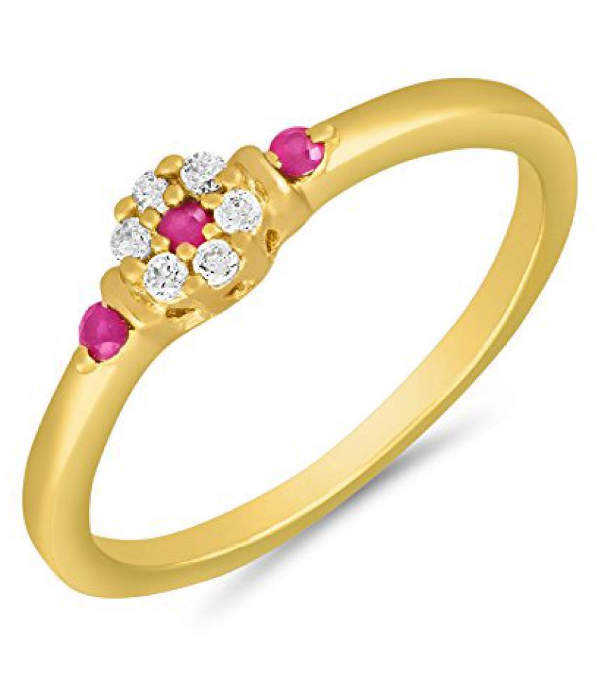Mahi Gold plated Dainty Finger Ring with Ruby for Women FR1100647G