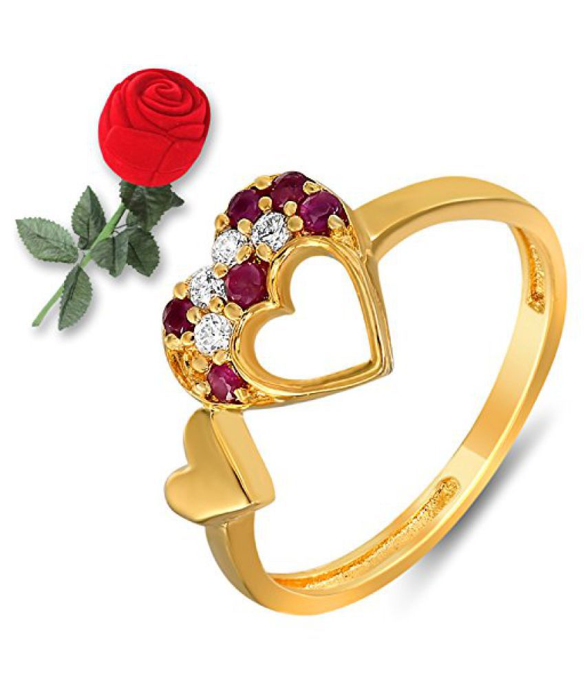 Mahi Ruby & CZ with Rose Shaped Box Fashion Finger Ring for Women FR5100311GCBx
