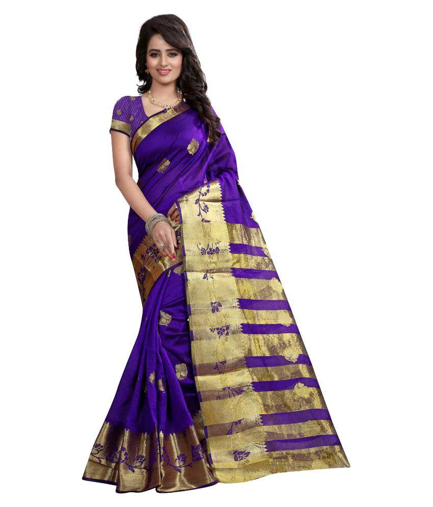 Greenvilla Designs Purple and Beige Kanchipuram Saree