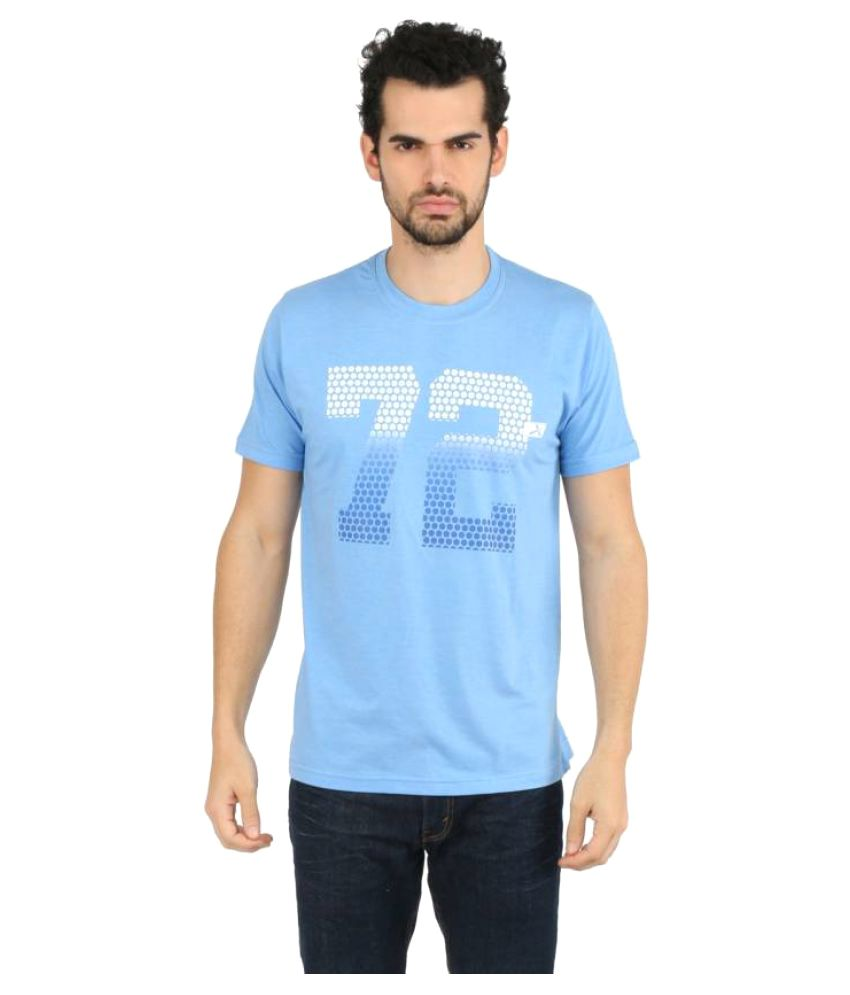Vector X Printed Men's Round Neck Blue T-Shirt