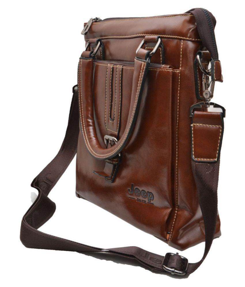Jeep Brown Pure Leather Sling Bag - Buy Jeep Brown Pure Leather ...