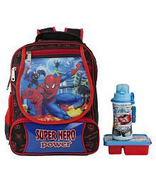 Uxpress Spiderman Blue School Bag With Water Bottle And Tiffin Box