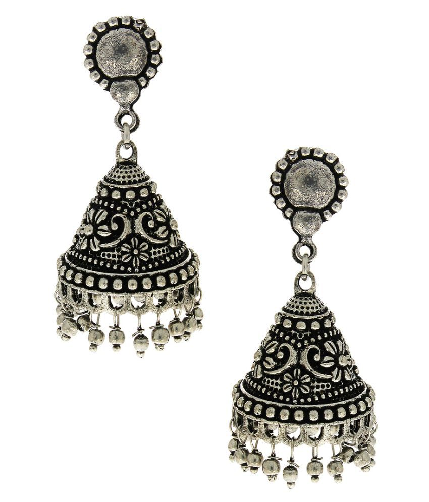 Anuradha Art Silver Tone Designer Delicate Jhumki Styled Traditional Earrings For Women/Girls