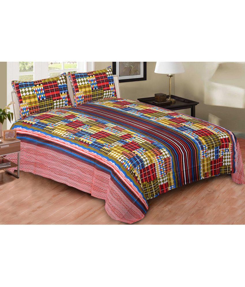 AJ Home King Cotton Multi Printed Bed Sheet